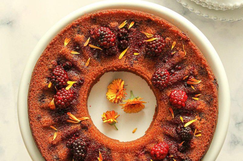 Eggless Blackberry Bundt Cake