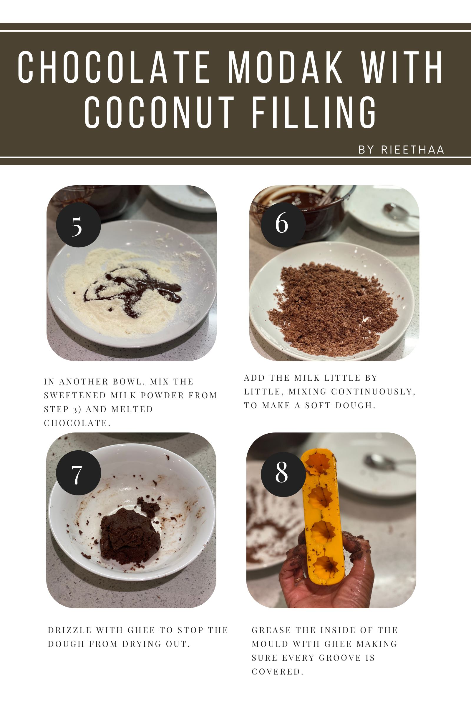 Chocolate modak recipe step.